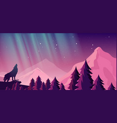 beautiful northern lights vector image