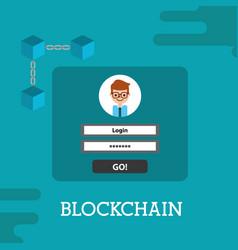 Blockchain login password cyber security vector