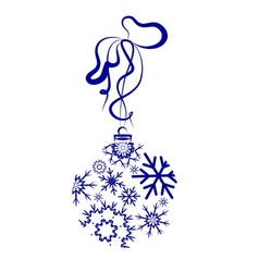 Blue Christmas Ball With Snowflakes vector image