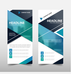 Blue roll up business brochure flyer banner vector