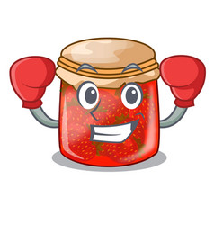 Boxing character homemade strawberry marmalade in vector