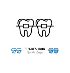 braces icon stomatology dental care teeth braces vector image