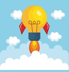 bulb light rocket start up vector image
