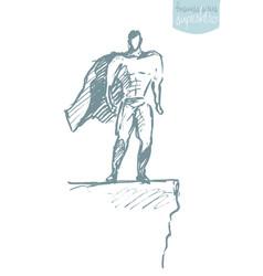 Businessman waving cloak hero sketch vector