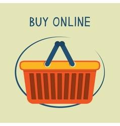 Buy online shopping basket emblem vector