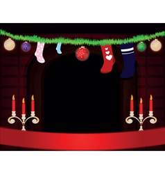 christmas room with fireplace vector image vector image