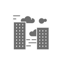 City smog air pollution gray icon vector