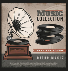 Colored retro gramophone poster vector
