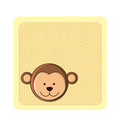 colorful greeting card with picture monkey animal vector image