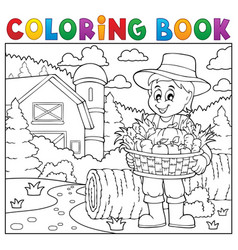 coloring book farmer with harvest 2 vector image