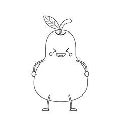 Colorless funny cartoon pear vector