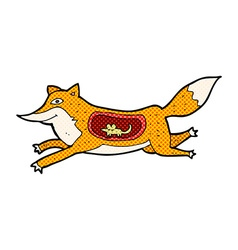 Comic cartoon fox with mouse in belly vector