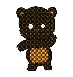 comic cartoon waving black bear vector image