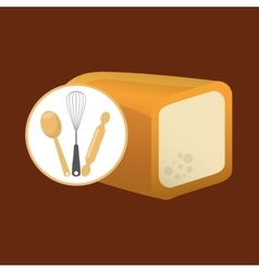 Cookware and sliced bread vector