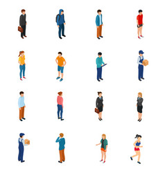 cool isometric people of different professions by vector image