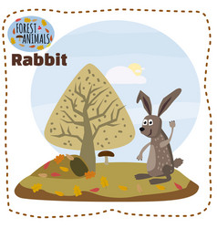 cute cartoon rabbit on background landscape forest vector image