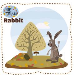 cute cartoon rabbit on background landscape forest vector image