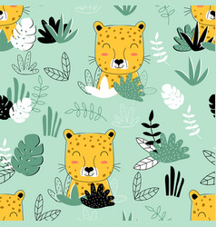 cute leopard pattern print design with slogan vector image