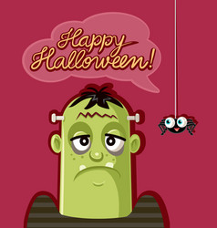 cute spider and scary monster celebrating hallowee vector image
