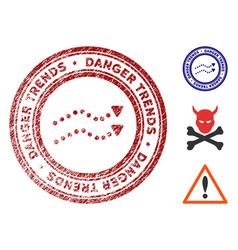 danger trends watermark with grunge texture vector image