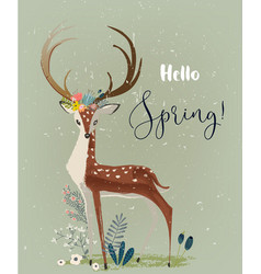 deer with flowers vector image