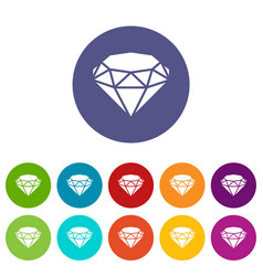 diamond icons set color vector image