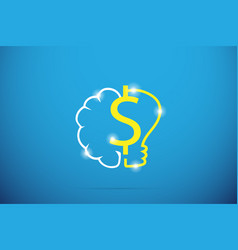 Dollar symbol with brain and lightbulb vector