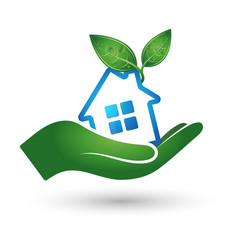 eco house silhouette vector image