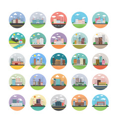 Ecology industry city and countryside icons vector