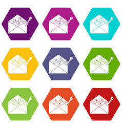 envellope with graph icon set color hexahedron vector image