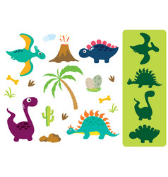 find the correct shadow adorable dinosaurs vector image
