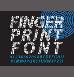Fingerprint font set vector
