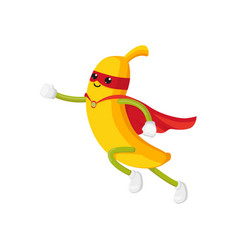 Flat banana character in cape mask dashing vector