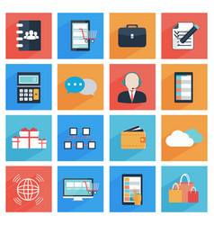 Flat business and office icons with long shadow vector