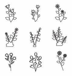 Flower black premade logo bundle template vector