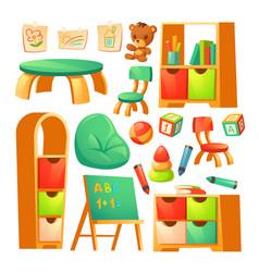 Furniture in montessori kindergarten vector
