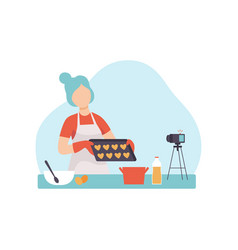 girl cooking at kitchen and recording video on vector image