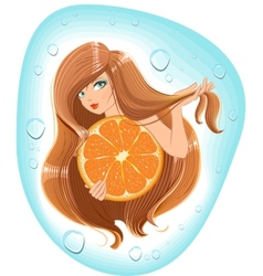 Girl with long hair holds an orange Template vector image