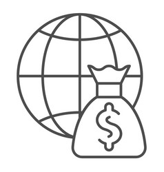 Global payment thin line icon globe and money bag vector