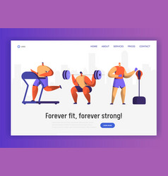 gym boxing training character for website design vector image