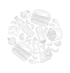 hand drawn fast food items and ingredients vector image