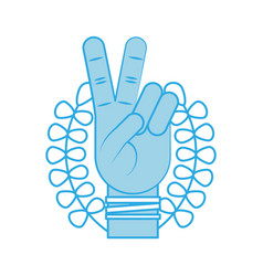 Hand making peace and love with wreath vector