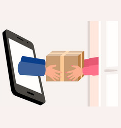 Hands come out a smart phone screen delivering vector