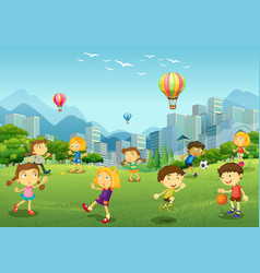 happy children play in park vector image