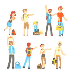 Hitchhiker standing with backpack and bag set for vector