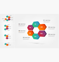 Honeycombs 3d gradient infographics step by step vector