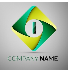 I letter colorful logo in the rhombus template for vector