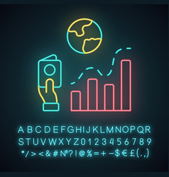 Immigration neon light icon business analysis vector
