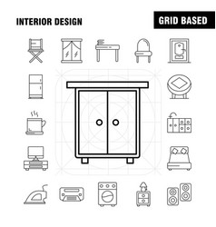 interior design line icons set for infographics vector image