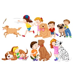 Kids and their pet dogs vector image